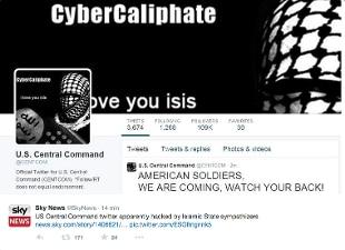Attacco hacker dell'Isis contro l'account Twitter del Comando militare Usa