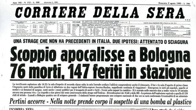 Strage di Bologna, la notizia sui giornali dell'epoca - Photogallery - Rai News