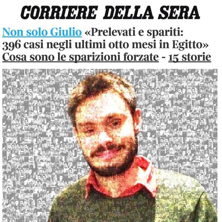 Montaggio del Corriere della Sera con la foto di Giulio Regeni e sullo sfondo tante piccole foto degli altri scomparsi in Egitto