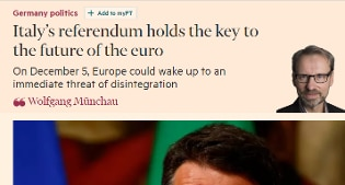 Referendum, il Financial Times: con la vittoria del No in dubbio l'Italia nell'euro