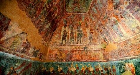 Uno degli affreschi del Tempio dei Dipinti nel sito archeologico Maya di Bonampak, conosciuto come la