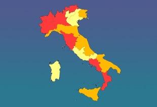 Italia Cartina Con Province.L Italia Si Tinge Sempre Piu Di Rosso E Arancione Le Tre Zone E Le Regole Locali Rai News
