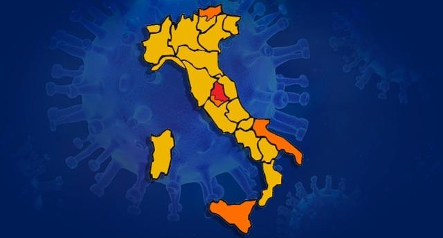 Umbria Cartina Italia.Covid Cambia L Italia A Colori 17 Regioni In Giallo Rai News