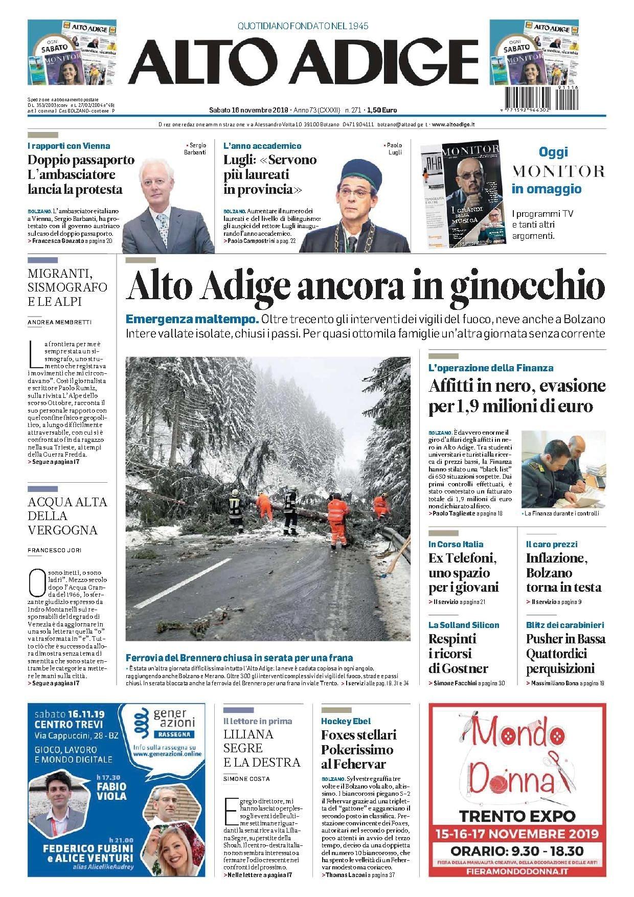 Le Prime Pagine Dei Quotidiani In Edicola Oggi In Alto Adige Media Tgr Bolzano