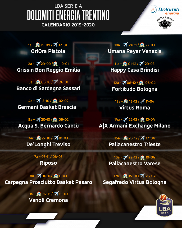 Calendario Fortitudo 2020.Aquila Basket Esordio A Trento Con Pistoia Il 25 Settembre