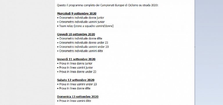 Ciclismo 2020 Calendario.Europei Di Ciclismo 2020 Trento Si Presenta Sport Tgr